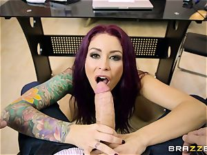 Mature tattooed secretary Monique Alexander with fat tits entices her boss and inhales his hard-on