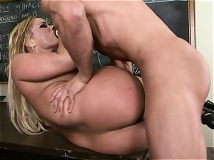 blond Shyla Stylez is anxious for a flow of spunk after a drilling