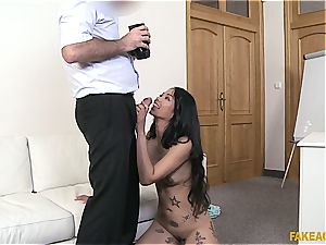 Pierced Thai gash gets lots of exploitation in the office