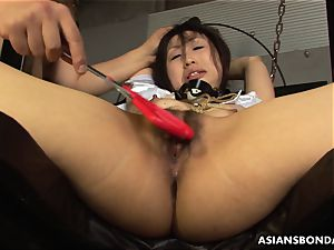 guys demolish the babe's humid strapped up twat