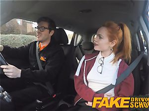 faux Driving school ultra-cute ginger-haired Ella Hughes plumbs