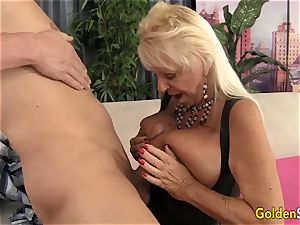 Floppy boobed grannie ravages a hairless man