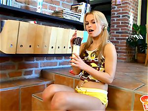 Sabrina blonde kneading a chocolate juice on her assets
