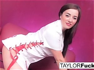 Nurse Taylor plays with her hefty mammories