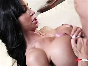 tanned exotic milf clitties Jade takes her stepson's large pink cigar in her inked pussy