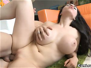 brunette gets her Face squirted with jizz