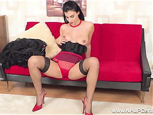big-titted brunette wanks in sheer RHT nylons red high-heeled shoes