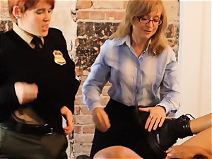 SEXYMOMMA-Ebony jail guard strap on dildo boinked in the arse