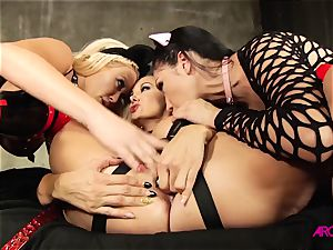 all girl threesome with a string for mature hefty bums