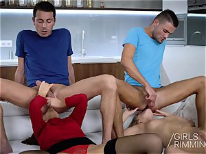 super-naughty four way ass licking with Tina Kay