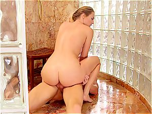grind stunner tearing up in the shower