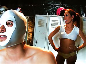 big-chested brown-haired Capri nails an aspiring luchador