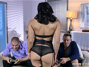 chinese Mia Li spit roasted by two rock hard spears