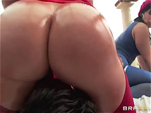 ass-fuck orgy with three nasty gigantic bum bi-otches Krissy Lynn, Nikki Delano and Rose Monroe