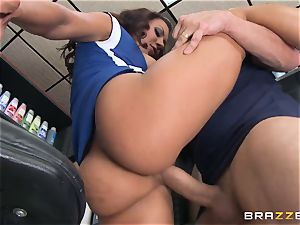 Married dude pounds lusty hairdresser Rachel Starr in front of his wifey