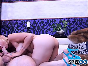 Sarah Vandella deep-throating and pummeling a huge man rod