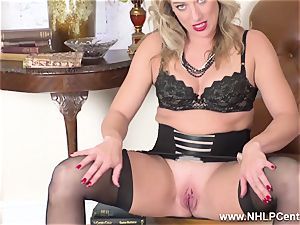 light-haired finger tears up humid poon in girdle antique nylons
