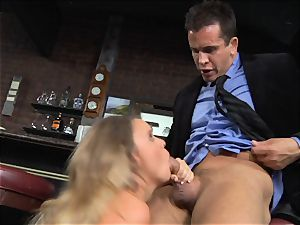 Alexis Adams tears up the manager in the bar