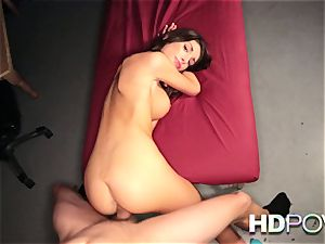 HD pov steamy dark-haired with giant jugs luvs to bounce manhood
