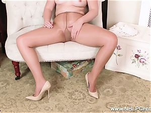 English redhead rips open shining bare tights to jack