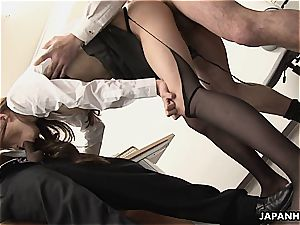 chinese bitch gets ravaged in the office