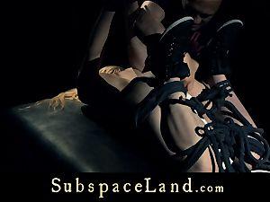 slave woman platinum-blonde pleasured and disciplined in subordination