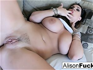 thick funbag Alison fumbles her meaty tits