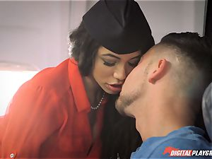 Stewardess Veronica Rodriguez creating turbulence