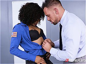promiscuous law-woman obeys to underling in the arrest