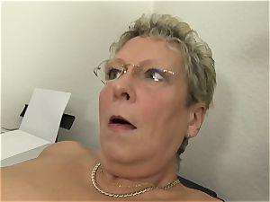 hardcore Omas - blondie German granny likes sloppy office intercourse