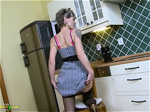 OldNannY grannie frolicking Alone in the Kitchen