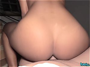 light-haired black makes extra cash with her plump butt
