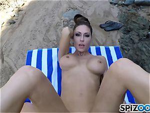 Beach backside Jessica Jaymes nailed deep in her stellar pleasure button beaver