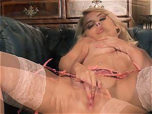 Chloe fucktoy jerking in wonderful stocking