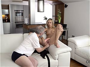 OLD4K. hottie takes part in sultry hump with fantastic older dad