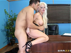 insatiable office dame Holly Heart porking via the office desk