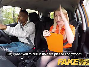faux Driving school long black spear satiates platinum-blonde