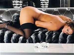 Eva Lovia touches her impatient nub till she jizzes