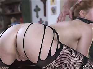 redhead in fishnets whipped and rectal boned