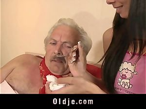 youthfull gal gets grandpa hard-on inwards her coochie