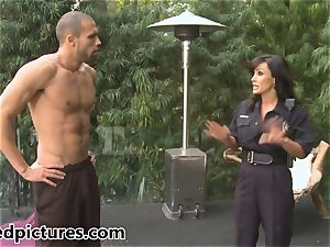 big-boobed cop Lisa Ann gives out her pink cigar punishment