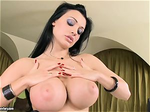 sexy breasted Aletta Ocean uncovers her gigantic tits teasing everyone's attention