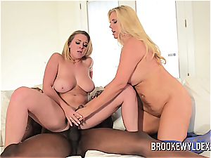 big-titted mother and step daughter take care of ebony stud