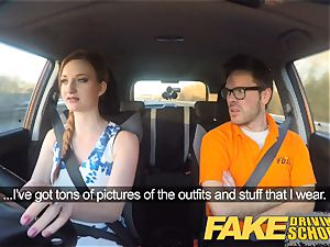 faux Driving college Nerdy red-haired nubile schoolgirl