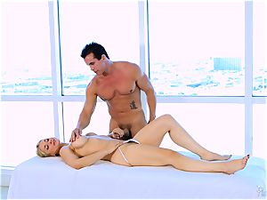 Roasting molten towheaded Sarah Vandella enjoys to knocker fuck