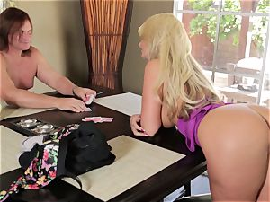 ash-blonde Phoenix Marie plays de-robe and shag poker