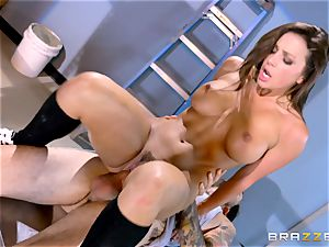 jiggly schoolgirl Abigail Mac pummels in the janitors apartment