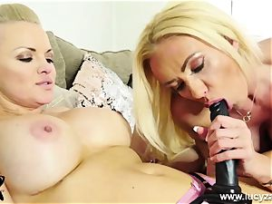 crazy light-haired rides thick strap dildo then gets fucked by wand