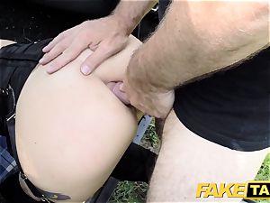 fake cab Fetish princess in ebony leather ass-fuck creampie