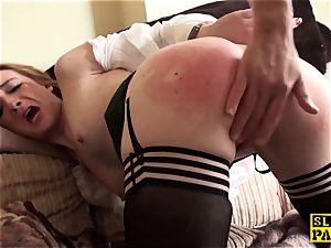 Ginger brit slave biotch predominated in pantyhose